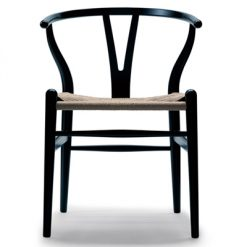 Stol CH24, svartlackad ek