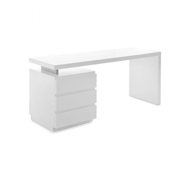 Muurame L skrivbord med lådhurts vit