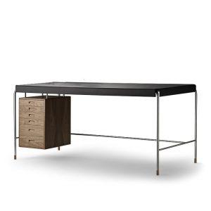 AJ52 Society table valnöt och svart läder carl hansen