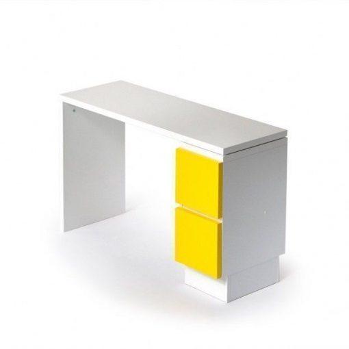 Muurame skrivbord 109x39cm med gula lådor