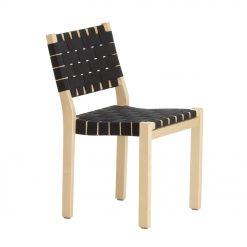 Artek Stol Chair 611 björk linneband svart