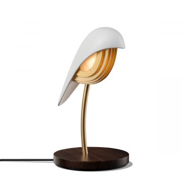 Ivory White Bird liten bordslampa