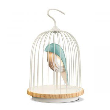 Chirp Blue white fågel lampa med högtalare
